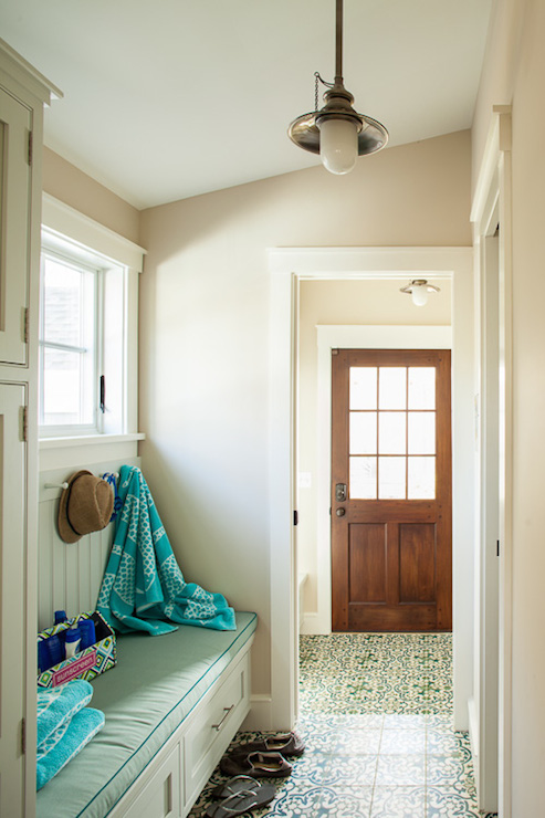 Foyer With Sloped Ceiling Cottage Laundry Room Liz