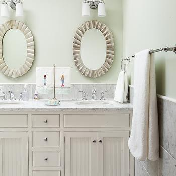 Scalloped Oval Mirrors, Cottage, bathroom, Liz Levin Interiors