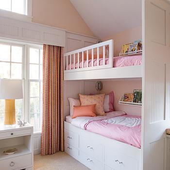 Bunk Bed Storage, Transitional, girl's room, Liz Levin Interiors
