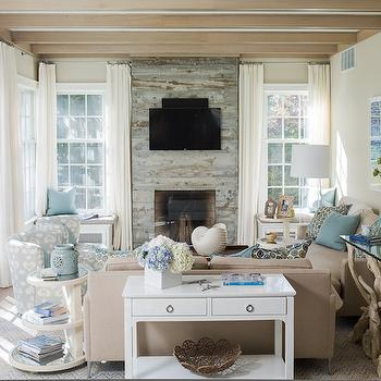 Reclaimed Wood Fireplace, Cottage, living room, Liz Levin Interiors