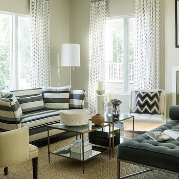 Striped Sofa, Transitional, living room, Liz Levin Interiors
