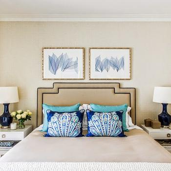 Navy Gourd Lamps, Transitional, bedroom, Highgate House