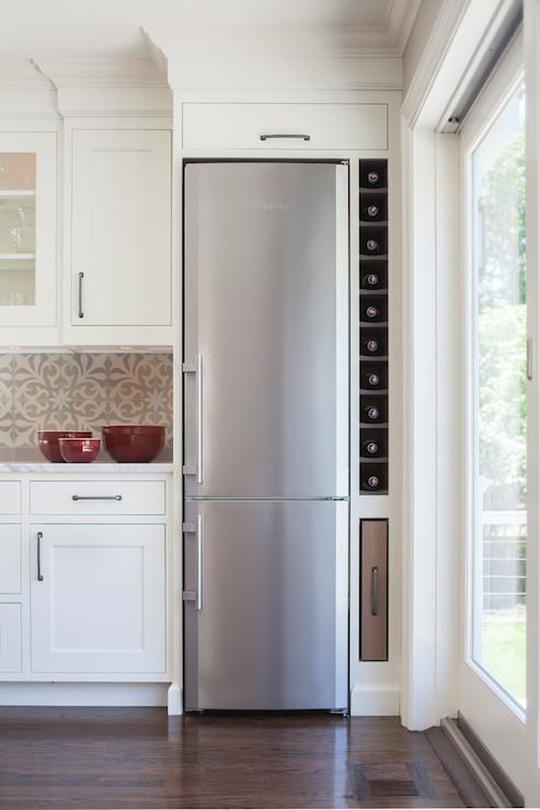 Space saving refrigerator transitional kitchen for Slim kitchen wall units