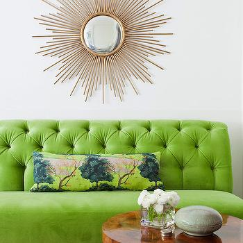 Green Velvet Tufted Setee, Transitional, living room, Space Architects & Planners