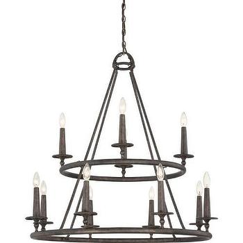 Lighting - Quoizel Voyager 12 Light Chandelier in Malaga I Homeclick - tiered iron chandelier, iron candelabra chandelier, round forged iron chandelier,