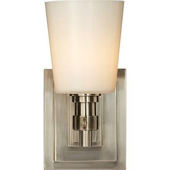 Lighting - Visual Comfort Thomas O Brien Bryant 1 Light Bath Sconce I Homeclick - antique nickel sconce, antique nickel and opal glass sconce, transitional antiqued nickel sconce, antique nickel bathroom sconce,