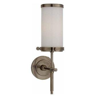 Lighting - Visual Comfort Bryant Single Bath Sconce I Homeclick - antique nickel bath sconce, antique nickel and white glass sconce, transitional antique nickel sconce, antique nickel bathroom sconce, antique nickel vanity sconce,