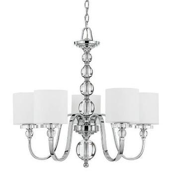 Lighting - Quoizel Downtown 5 Light Chandelier in Polished Chrome I Homeclick - chrome and glass chandelier, modern chrome chandelier, chrome 5 arm chandelier, chrome five light chandelier,
