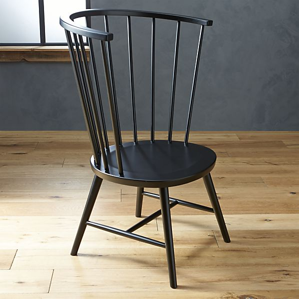 Crate and Barrel Riviera Black Tall Windsor Side Chair Look for Less