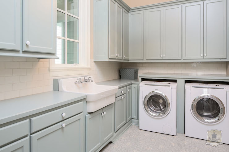 Grey Laundry Rooms Transitional Laundry Room