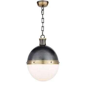 Lighting - Visual Comfort Thomas O Brien Large Hicks 2 Light Pendant I Homeclick - bronze and brass pendant light, transitional bronze pendant light, bronze pendant with white glass shade,
