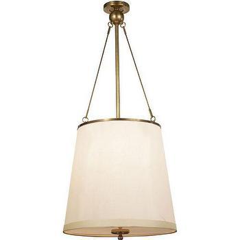 Lighting - Visual Comfort Barbara Barry 3 Light Westport Pendant I Homeclick - tapered silk drum pendant, tapered silk shade pendant, silk and brass pendant light,