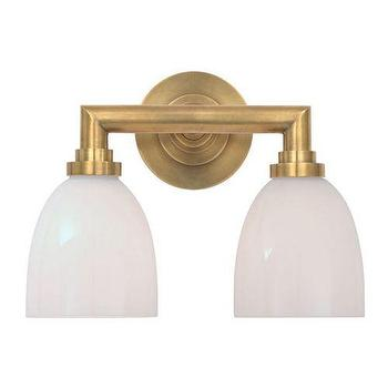 Lighting - Visual Comfort Studio 2 Light Wilton Bathroom Light I Homeclick - brass two light sconce, brass and white glass sconce, aged brass wall sconce, aged brass bathroom sconce,