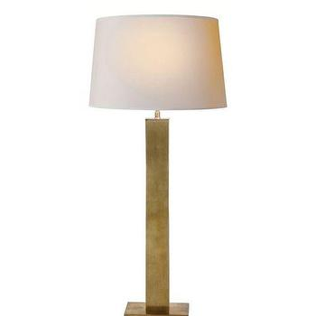Lighting - Visual Comfort Thomas O Brien Hammond Column Table Lamp I Homeclick - rubbed brass table lamp, brass column table lamp, rectangular brass column table lamp,