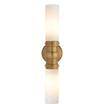 Lighting - Visual Comfort Thomas O Brien Graydon Bathroom Lighting I Homeclick - rubbed brass wall sconce, rubbed brass bathroom sconce, linear brass wall sconce, brass and white glass sconce, brass 2 light sconce,