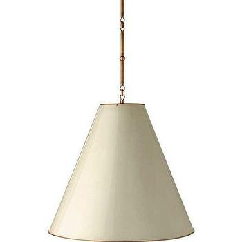 Lighting - Visual Comfort Thomas O Brien Goodman Hanging Lamp I Homeclick - tapered drum pendant, tapered shade pendant light, hanging lamp, off white hanging lamp,