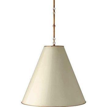 Lighting - Visual Comfort Thomas O Brien Goodman Hanging Lamp I Homeclick - tapered drum pendant, tapered shade pendant light, hanging lamp, off white hanging lamp,