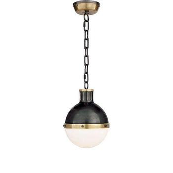 Lighting - Visual Comfort Thomas O Brien Small Hicks 2 Light Pendant I Homeclick - brass and bronze pendant light, retro bronze pendant light, bronze and white glass pendant, bronze pendant with white shade,
