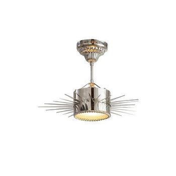 Lighting - Visual Comfort Suzanne Kasler Soleil Pendant I Homeclick - modern silver sun pendant, nickel sun shaped pendant, sun shaped lighting, sun shaped pendant lighting,