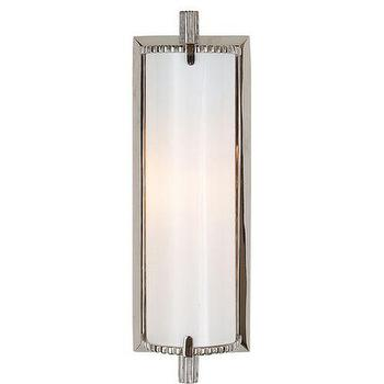 Lighting - Visual Comfort Thomas O Brien Calliope Bathroom Lighting I Homeclick - linear white glass wall sconce, white glass vanity light, white glass vanity sconce, nickel and white glass sconce,
