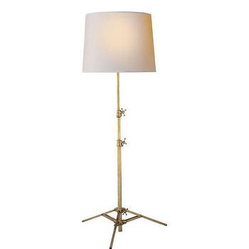 Lighting - Visual Comfort Thomas O Brien 2 Light Studio Floor Lamp I Homeclick - brass tripod floor lamp, adjustable brass floor lamp, antique brass floor lamp,