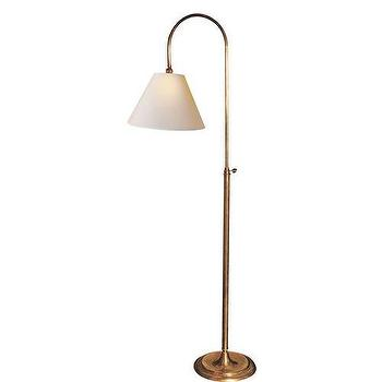 Lighting - Visual Comfort Studio Down Bridge Loop 1 Light Floor Lamp I Homeclick - antique brass floor lamp, brass arched floor lamp, brass gooseneck floor lamp,
