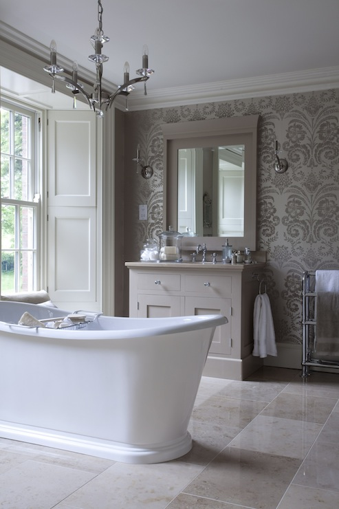 Taupe damask wallpaper transitional bathroom hayburn for Taupe bathroom ideas