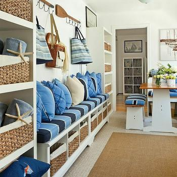 Mudroom Bench Ideas, Cottage, laundry room, Barclay Butera