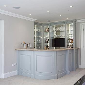 Curved Wet Bar, Transitional, media room, Hayburn and Co