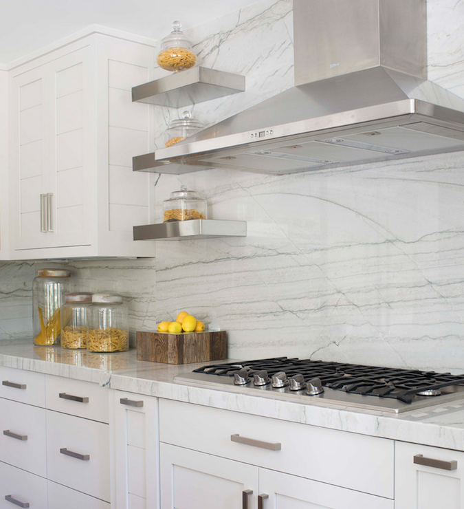 White Quartzite Countertops Transitional Kitchen