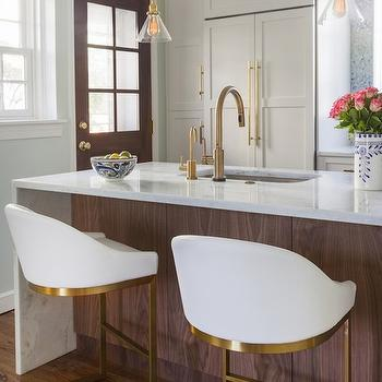 Brass and Glass Light Pendants, Contemporary, kitchen, Sherwin Williams Dewy, Design Manifest