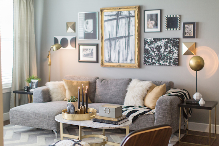 Black white and gold living room - Black and gold living room decor ...