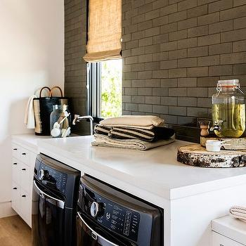 Glazed Brick Tiles, Contemporary, laundry room, Disc Interiors