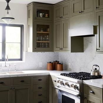 Olive Green Kitchen Cabinets, Transitional, kitchen, Pratt and Lambert Olive Bark, Disc Interiors