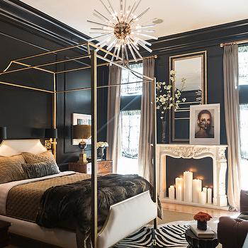 Gold Canopy Bed, Eclectic, bedroom, Jessie D Miller