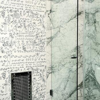 Saul Steinberg Aviary Wallpaper, Eclectic, bathroom, Disc Interiors