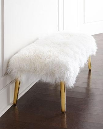 Jonathan Adler Long Haired Sheepskin Bench I Horchow