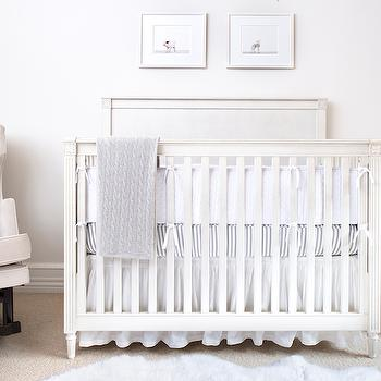 White and Gray Crib Bedding, Transitional, nursery, AE Design