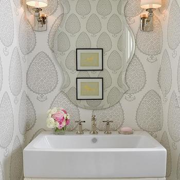 Wallpaper for Powder Rooms, Transitional, bathroom, Bria Hammel Interiors