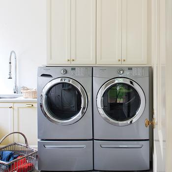 Stacked Cabinets Over Washer and Dryer, Transitional, laundry room, Wellborn Cabinet