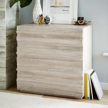 Stria 3-Drawer Dresser, Cerused White I Horchow