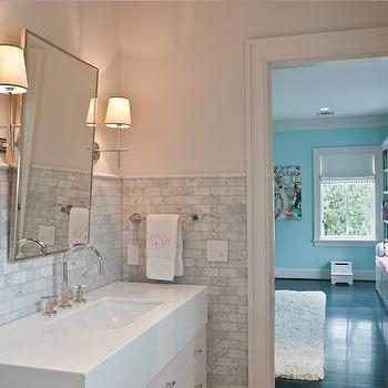 Mini Marble Subway Tiles, Transitional, bathroom, Frasier Homes