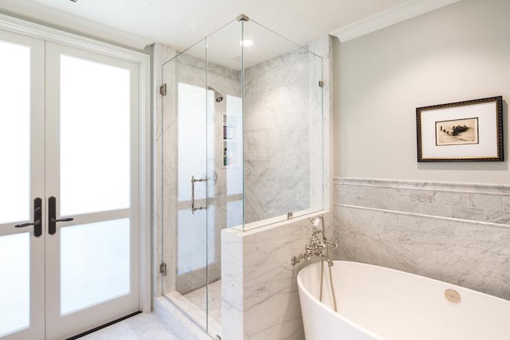 IOS Bathtub, Transitional, bathroom, Benjamin Moore Moonshine, Charmean Neithart Interiors