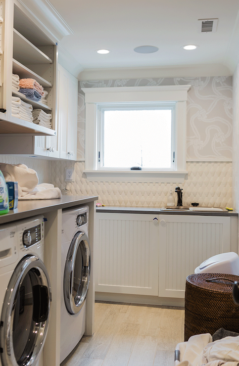 Laundry Room with Beadboard Cabinets, Transitional, laundry room, Brookes and Hill Custom Builders