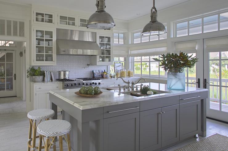 Gray kitchen island cottage kitchen urban grace for White kitchen gray island