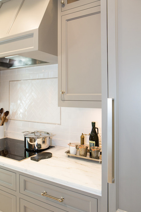 Grey Kitchen Cabinets, Transitional, kitchen, Benjamin Moore River Reflections, Charmean Neithart Interiors