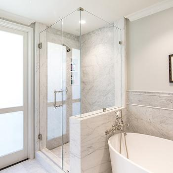 IOS Bathtub, Transitional, bathroom, Benjamin Moore Moonshine, Charmean Neithart Interiors