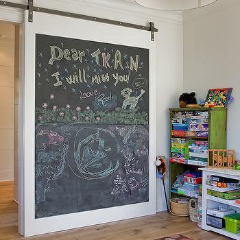 Chalkboard Barn Door, Transitional, boy's room, Brookes and Hill Custom Builders