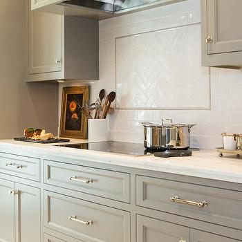 Honed Carrera Countertops, Transitional, kitchen, Benjamin Moore River Reflections, Charmean Neithart Interiors