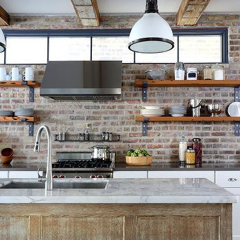 Kitchen with Exposed Brick, Transitional, kitchen, Normandy Remodeling